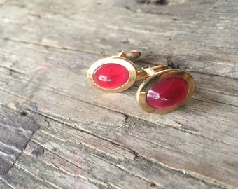 Vintage Correct Quality Gold and Red Cuff Links