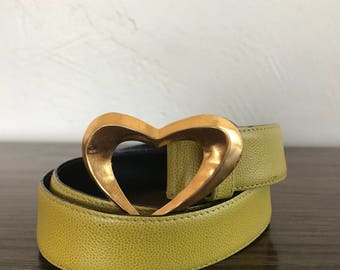 Vintage Christian Lacroix Green Leather Belt with Gold Heart Buckle