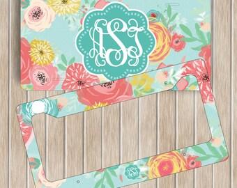 Floral Monogram License Plate Frame Set ~ Personalised Flowers License Plate Frame ~ Custom Car Tag ~ Custom Plate Frame ~ New Driver Gift