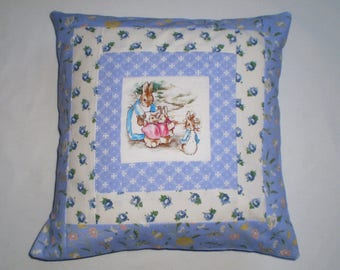 Beatrix Potter's MRS RABBIT & FAMILY Patchwork Nursery Cushion with Laura Ashley Fabrics