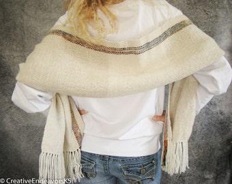 Alpaca Handwoven Scarf, Handspun Scarf, Handwoven Shawl, Art Yarn Scarf, Natural Wool Scarf, Handwoven Wrap, Handspun Wool Wrap