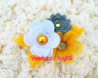 Lovely Felt Flower Applique in Color Gray, Yellow and White