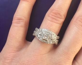 1/2 carat Wedding set.  Engagement Ring. 14k gold. Offering flexible layaway.