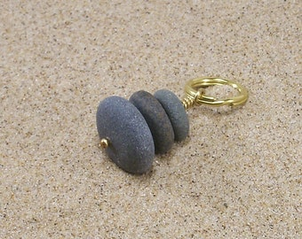 Lake Michigan Beach Pebble Cairn and Solid Brass Keychain, Car Charm, Window Charm, Large Cairn Pendant, Stone Cairn Ornament