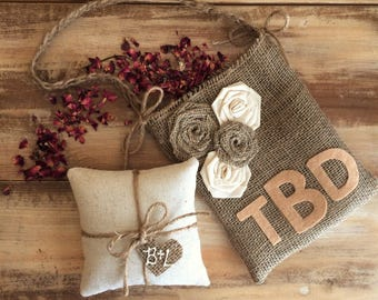 Wedding Ceremony Set- Cotton Ring Bearer Pillow & Burlap Flower Girl Bag- Monogrammed-Natural- Rustic/Shabby Chic/Woodland- Personalized