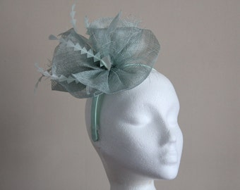 Aqua Green Blue Sinamay Wave Fascinator with Chevron Feathers on Hairband Weddings Races Kentucky Derby Ascot,