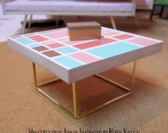 1/6 scale Table in white and gold with window pane print in coral pink, rose gold, and shades of mint hand painted