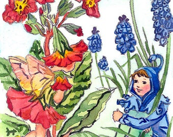 ACEO Limited Edition 1/25-Polyanthus and grape hyacinth fairies inspired by Cicely Mary Barker, Art print of original ACEO watercolor