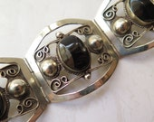 Mexican Sterling Onyx Bracelet Mid Century Taxco 925 Signed Maker's  Mark AL Hinged Made in Mexico