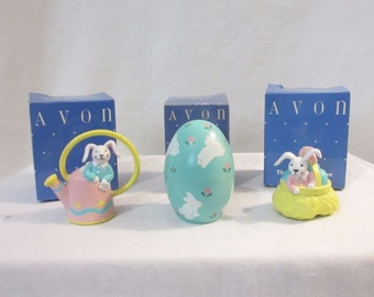 Vintage Avon Easter Ornaments Set Of 3 In Original Boxes