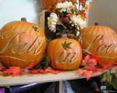 Custom white pumpkins