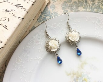 Vintage Inspired Flower Earrings, White Rose Dangle Silver Filigree Earrings w/ Vintage Sapphire Blue Glass Jewel, Nickel Free French Hooks