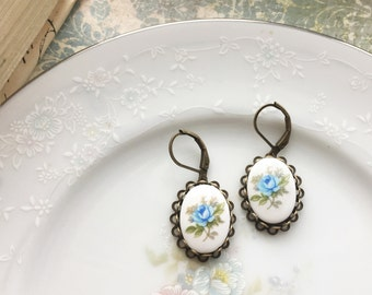 Vintage Blue Rose Cameo Dangle Earrings, Vintage Blue Flower Porcelain Cabochons, Antique Bronze Lace Setting, Hypoallergenic