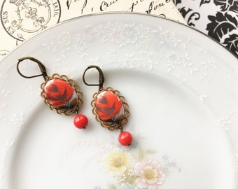 Vintage Red Rose Cameo Dangle Earrings, Vintage Western Germany Red Flower Cameo Red Bead Earrings, Antique Bronze Setting, Hypoallergenic