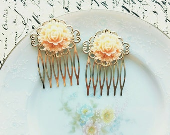 Vintage Inspired Peachy Pink Flower Bouquet Hair Comb Set, Rose Hair Comb, Silver Hair Accessory, Victorian
