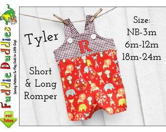 Tyler Baby Boys Romper pattern, Jon Jon Pattern, Sewing Patterns, Longall pdf sewing pattern. Baby Clothes Short Romper, Long Romper Pattern