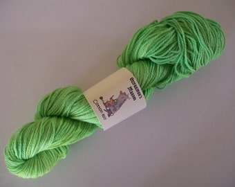 8ply/DK weight cotton.   Hand-dyed  100gm-  Lime