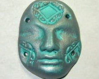 face cab polymer clay face cabochon light blue silver