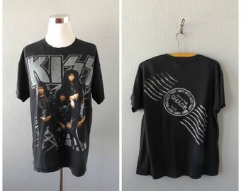 1990 KISS Tour T Shirt | Vintage Hot In The Shade Concert Tee Size L/Large Thin Faded Rock Band T-shirt Rocker Heavy Metal 1990s Grunge Boho