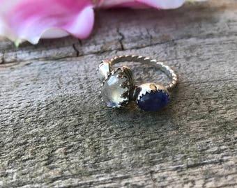 Mini Lacey Ring - Rainbow Moonstone and Tanzanite