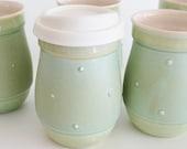 Turquoise Ceramic Travel Mug with Silicone Lid, Pottery To Go Coffee Mug, 16 oz Eco Mug, Small Commuter Mug, Made to Order