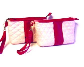 Pink , Fuchsia Travel Cosmetic Pouch  2 pcs -Quilted and Padded