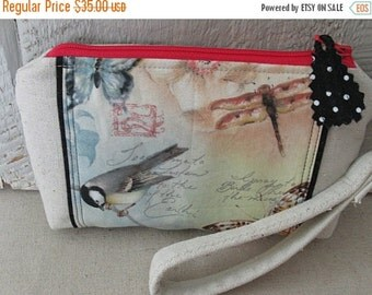 ON SALE Birds Butterflies Dragonfly Writing Canvas Zippered Pouch Wallet Credit Card Pockets Wristlet