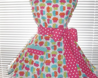 Retro Apron Two Tiered Skirt Multicolored Cupcakes Paired with Teal Blue and Retro Dots Circular Flirty Skirt Satin Edge Organza Trimming