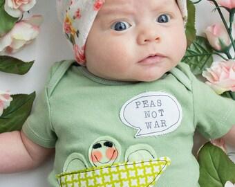 "Swanky Shank Hand-Dyed Gender Neutral ""Peas Not War"" Bodysuit or Tee"