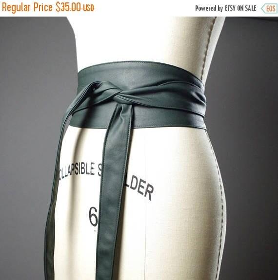 SUMMER SALE Vegan Leather Obi Belt - Green Leather Obi Belt - Women's Wrap Belt - Up-cycled Obi Belt
