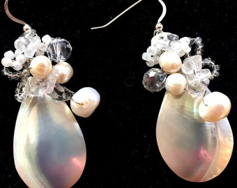 Mother-of-Pearl & Sea Shell Wire-Wrapped Earrings