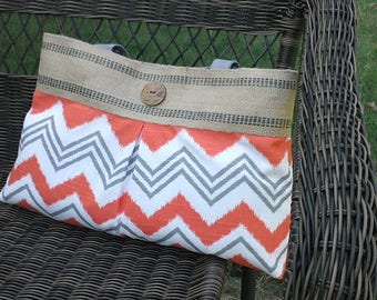 Orange and White Pleated Handbag Purse Tote Bag with Jute Webbing and Wooden Button