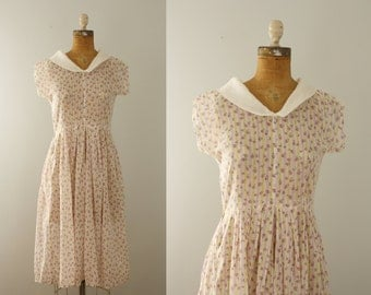 1930s dress | vintage 30s feed sack floral dress