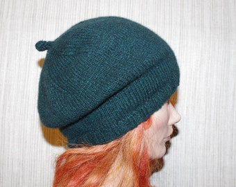 Pure Cashmere Green Black Tweet Hand Knit French Beret Hat
