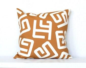 Kuba Modern Tribal Linen Pillow Cover - Burnt Orange Combo