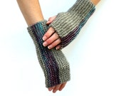 Ready to Ship: Striped Gauntlets - Hand Knit Gloves - Fingerless Gloves - Apocalyptic Mitts - Hand Warmers - Unisex Gloves - Amy LaRoux