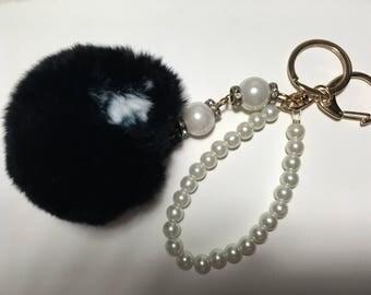 Black  rabbit fur Pom Pom keychain