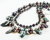 Peacock Pearl Necklace, silver finish, statement, iridescent gemstone, mixed pearls necklace, boho necklace, holiday gift for her, 3979