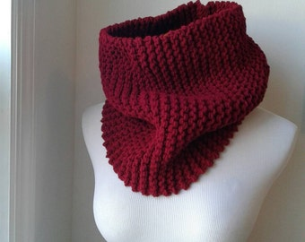 Chunky knit cowl in cranberry  circle scarf, knit scarf, winter accessories