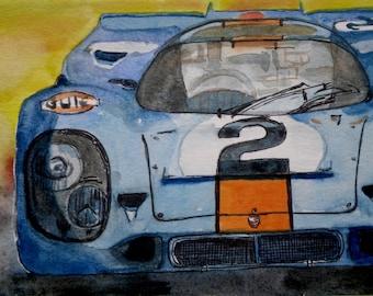 """Porsche custom car painting, Porsche  car illustration, Gulf Porsche, Blue Orange, Art Print of an Original Watercolor Matted to fit 8""""x10"""""""