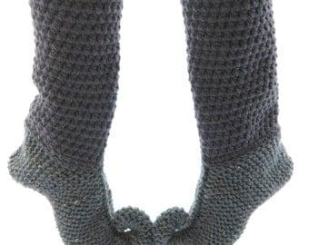 knitted pixie slippers, elfin slippers, knitted slippers, long slipper socks, adult size UK7/8, Eu40/41, US9/10, ready to ship, UK seller