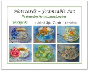 Teacup Series 2 -  6 Blank Notecards, Party Favors