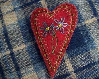 Rustic Country Heart with Embroidered Flowers Valentine's Heart Brooch Felt Pin