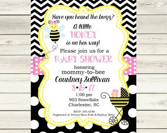 12 Pink   Bee Bumblebee Baby Shower invitations with envelopes -little honey-burlap ANY COLORS