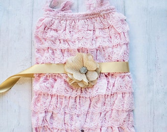 Pink Gold Cake Smash Outfit, Pink Gold Lace Petti Romper, Pink Lace Romper, Petti Romper, Baby Romper, First Birthday Outfit