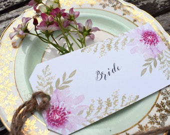 Floral Bliss Wedding Place Card Tag, Floral Tags, Wedding Tags, Wedding Place Cards