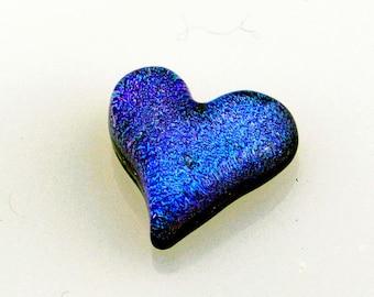 Heart Cabochon, Blue Heart Cabochon, Glass Cabochon Heart, Heart Tile, Glass Heart
