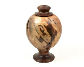 LV-3187 Ponderosa Pine Burl  and  Chechen Threaded Vessel, Footed Urn-SCREW CAP