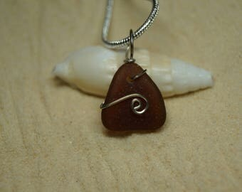 Drilled Brown Sea Glass Necklace with Sterling Silver Chain