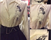 1940s Rayon Blouse Hand Painted Femme Fatale